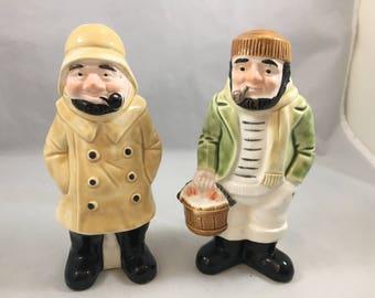 Really Amazing Josef Originals Pipe Smoking Fishermen Salt and Pepper Shakers