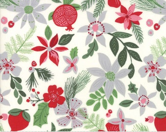"End of Bolt, Christmas Floral in Snow from the Merry Merry Collection by Kate Spain for Moda, Christmas Floral, Christmas Fabric, 18""x44"""