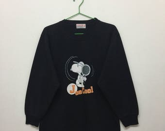 Vintage Joe Cool Sweater/Snoopy Peanuts Pullover Sweater/Cartoon/Black/Size M