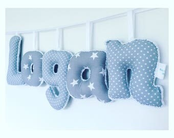 Personalized grey and white name sign,name banner,name bunting,nursery deco,letter bunting,nursery wall hanging,gifts for kids,new baby gift