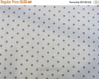 Blue Grey polka dots on nature base colour - 150 cm wide