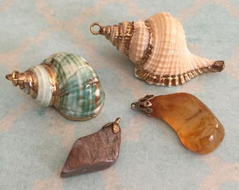 Sea Shell and Agate Pendants Necklace Pendant Vintage Shell Jewelry