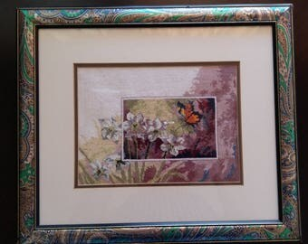 Embroidered Picture Flowers with Buttelfly