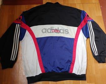 ADIDAS track jacket, vintage full zip hip hop jacket of 90s hip-hop clothing, 1990s gangsta rap, old school windbreaker, size XL D10