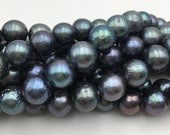 """Natural Graduated Freshwater Pearl Black w/Rainbow Electroplating Round Loose Beads Size 9-11mm Approx 15.5"""" Long per Strand"""