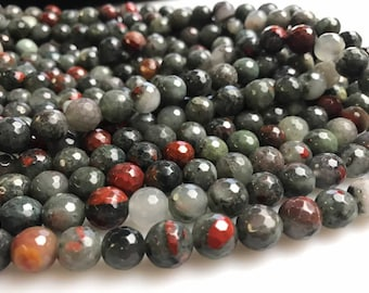 Natural Africa Bloodstone Faceted Round Size 6mm/8mm/10mm Loose Beads 15.5'' Long Per Strand For Jewelry Making