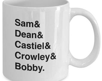 SUPERNATURAL Character Names Mug - TV Show Fan Gift - Sam Dean Castiel Crowley Bobby - Winchester Brothers - 11 oz white coffee tea cup