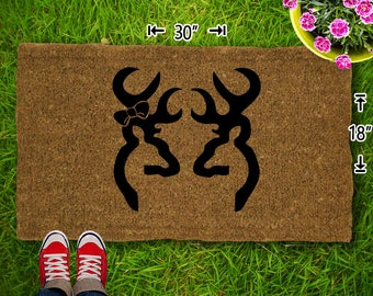 Buck And Doe (No Name) Coir Doormat - 18x30 - Welcome Mat - House Warming - Mud Room - Gift - Custom