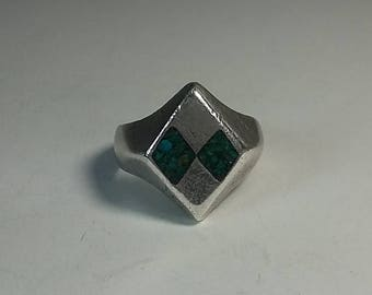 "1950's Taxco Mexico Man's Sterling Silver Ring ""Ava"" Eagle Assay #3 Turquoise 10.5"