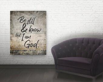 Be still and know Bible verse canvas bible verse wall art modern christian art scripture wall art christian wall art Bible art canvas