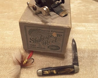 Vintage 1962 Shakespeare Reel Superior Kalamazoo Box with bonus vintage Hendrix / Hendryx fishing reel patents pending