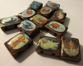 Brown Painted Wooden Tiles with Religious Motifs, 15mm, Set of 12 Assorted