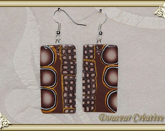 Earrings brown beige Golden 104034