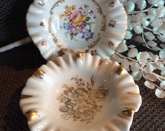 Vintage Porcelain de France small dish plates floral bouquets with gold and ruffle edge