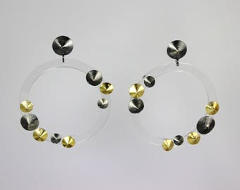 Plexiglas earrings with silver details made in Italy