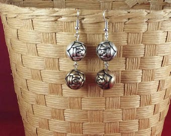 Silver and bronze rose earrings