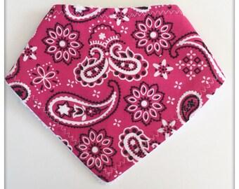 Pink bandana baby bib