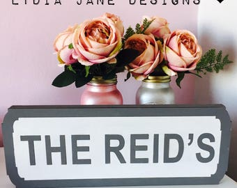 Surname Street Sign Wedding Top Table gift personalised vintage style mr & mrs