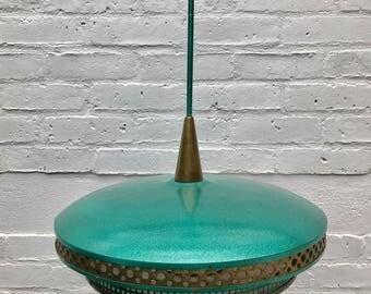 Turquoise Vintage Pendant Light Chandelier 1950s ca #188
