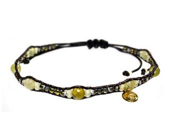Anklet-Natural Yellow opal and Czech glass 527