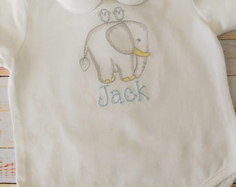 Baby Boy Onsie with Elephant Monogram