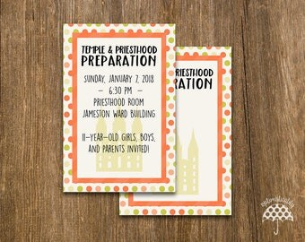 LDS Temple & Priesthood Preparation Invitation -- Coral Dots