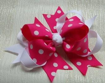 Stunning Pink and White Polka Dot Hair Bow