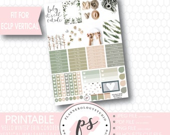 Hello Winter Mini Sampler Kit Printable Planner Stickers | JPG/PDF/Silhouette Cut File | For Use with Erin Condren Lifeplanner ECLP Vertical