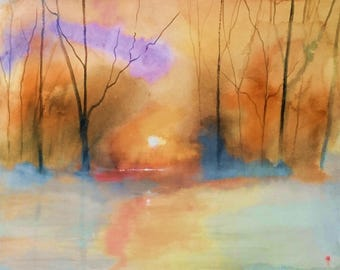 A winter mist,  original watercolour painting by Alan Harris, British artist, paintings, oils, watercolours, pastel, mixed media