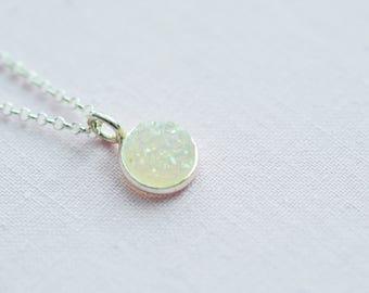 Simple Necklace/ Druzy Necklace/ Gemstone Necklace/ Dainty Necklace/ Dainty Necklace/ Layering Necklace/ Silver Necklace/ SIlver necklace
