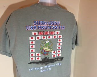 USS DRUM SS- 228 Navy Submarine Mobile, Alabama  -T-Shirt Adult  L      t
