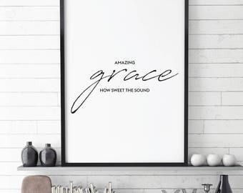 Amazing Grace, Christian Quote, Faith Printable, Amazing Grace, Printable, Faith Quote, quote print,  Bible verse, Art Printable,  Christian