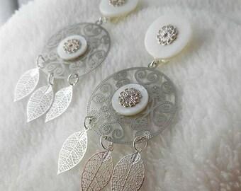 Earring clip Thai white leaves (made in France)