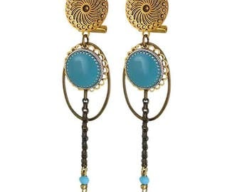 Earring clip turquoise Nola (made in France)