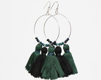 Green and black tassel earrings