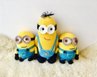 Gangs of Minion, Crochet Minion, Amigurumi Minion Keyring,  Handmade Minion, Depicable me Minion Key chain, Minion Keyring,