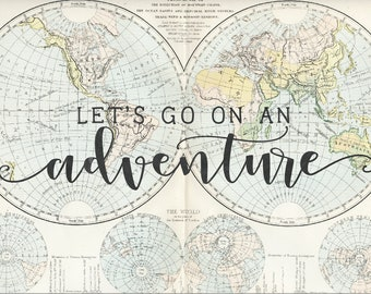 """Let's go on an adventure, canvas wall hanging, 13x19"""""""