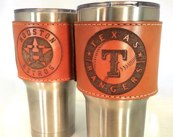 Simplistic Tangerine leather Yeti Cup Sleeve w/ Handle