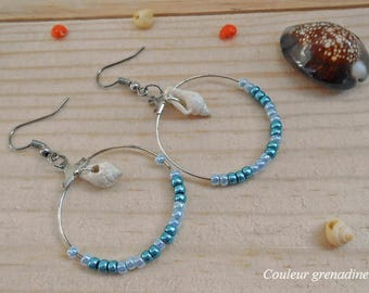 Beads and shell hoop earrings