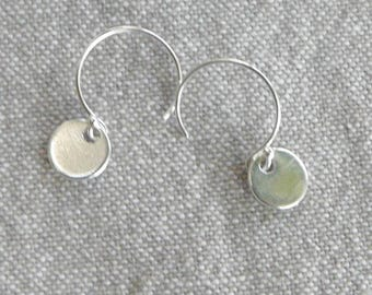 """Medal"" Silver hook earrings"