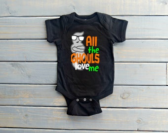 All the Ghouls Love Me Bodysuit, Baby Boy Halloween, Funny Halloween Outfit, Baby Shower Gift, Cute Baby Clothing