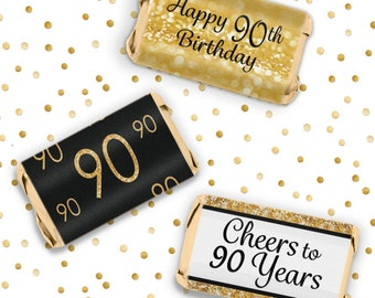 Happy 90th Birthday Party Favors - Gold & Black - Cheers to 90 Years Old - Decoration Stickers for Hershey's Miniature Bars - 54 Count