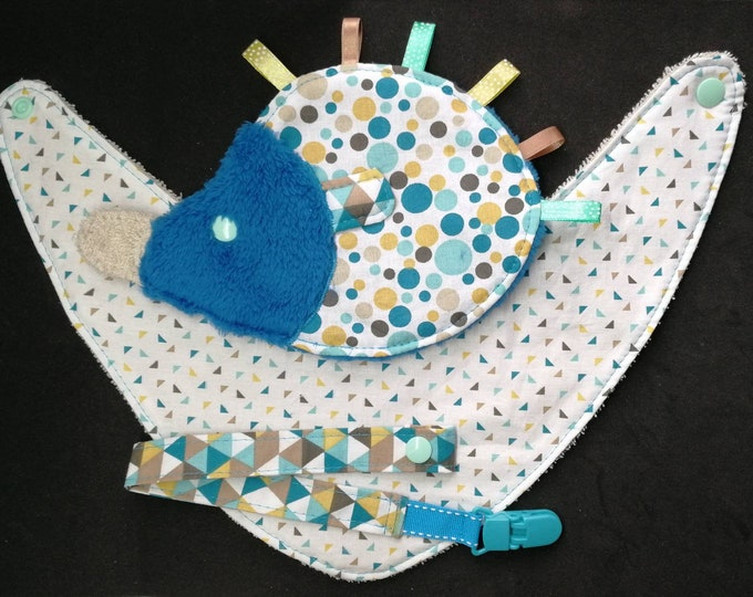 Baby bib Hedgehog pacifier pouch