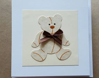 Cream teddy bear. Blank inside. Worldwide shipping available. Brown fabric bow