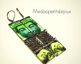 Earrings, zen jewelry, Buddha, unique, zen, rectangle