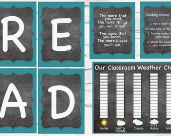 Chalkboard and Aqua Mega DISCOUNTED BUNDLE, Chalkboard classroom decor, teaching decor, instant download, 5x7 and 8x10 jpgs