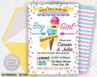 Ice Cream Invite, Gender Reveal Invitation, What Will It Bee, Gender Reveal Party, Pink Blue Gender Reveal Shower, Girl Boy BSIC1 44