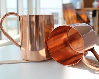 Double Lining Laquered Copper Mugs - Set of Two Copper Mugs - multipurpose Copper mugs