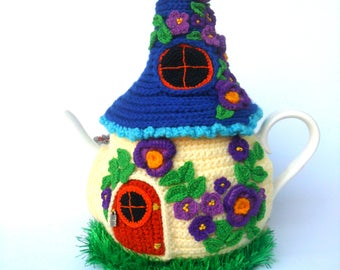 Warmer for teapot, fairytale warmer, fairy house, Knitted tea cozy, Fairy house teapot cosy, Tea cozy