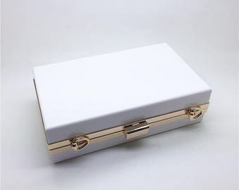 "17.5cm x 10.5cm ( 7"" x 4""  ) box clutch frame with solid color acrylic covers & chain, transparent PVC sidewall glued on or not, L51A"